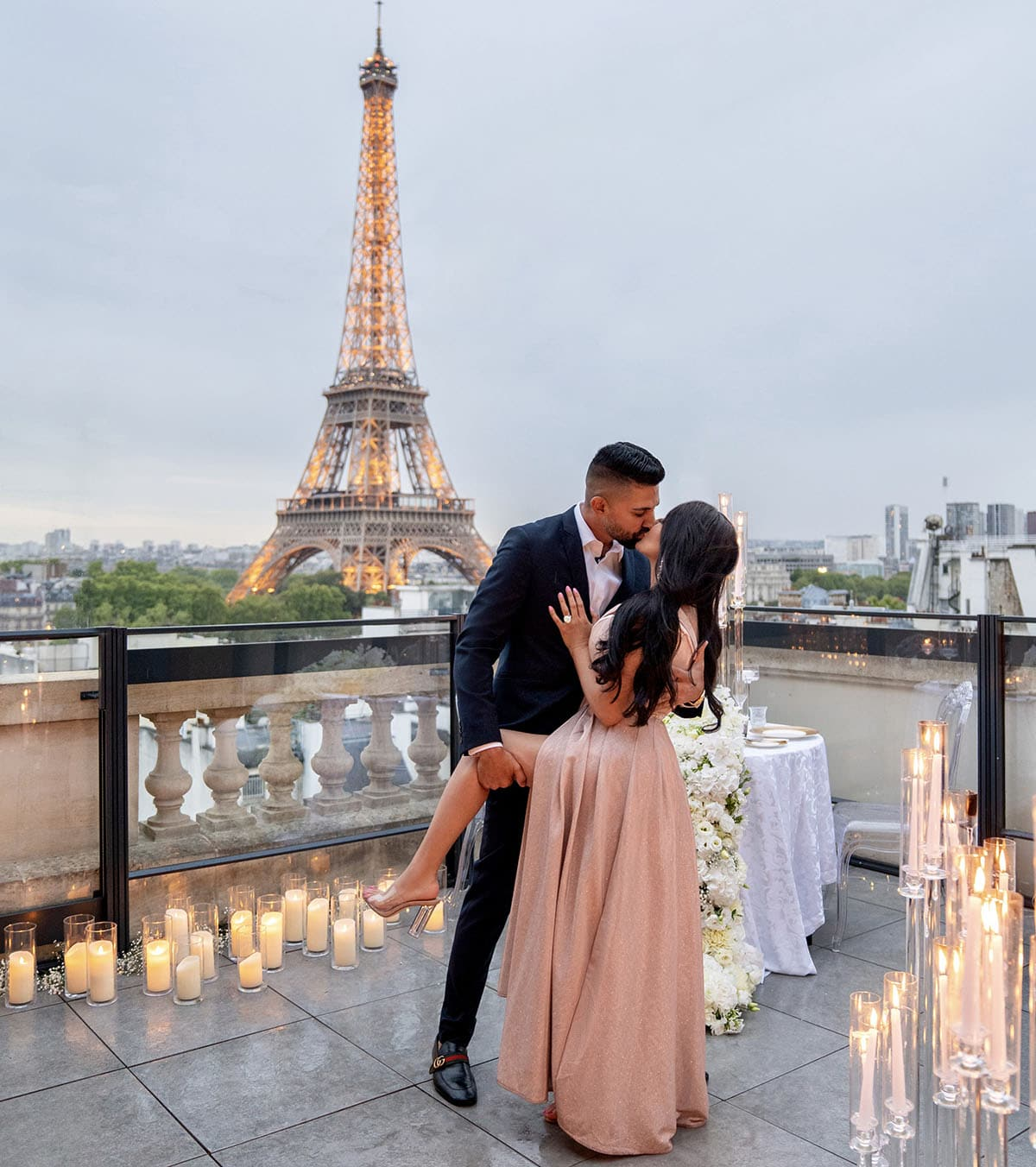 Dhar Mann proposing to Laura G in Paris France after the proposal